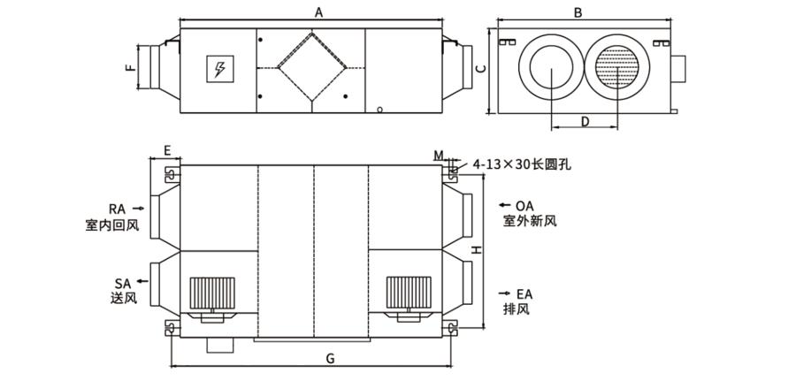 小型標準全熱交換新風機尺寸示意圖